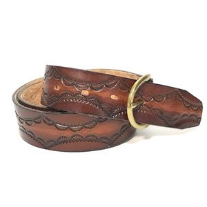 Other - Hand Tooled Leather Belt Full Grain Cowhide 36/90